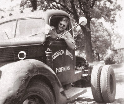 1951 –Richard Johnson is shown here operating one of his first delivery trucks.